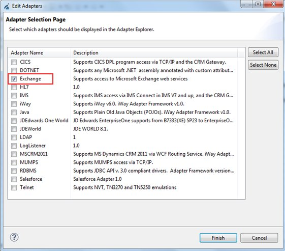 Adding the Microsoft Exchange Adapter to iWay Explorer